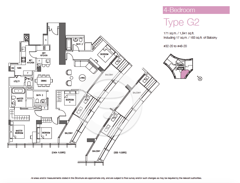 DUO Residences 4br Type G2 - 1841sf